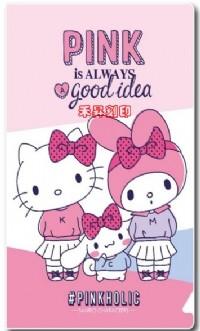 3㎝ ×1.3㎝/144張/彩色姓名貼紙『三麗鷗- KITTY PINK -CQ版』~2個名字、贈文件夾、優惠:150元_圖片(2)