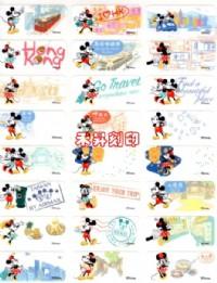 米奇旅遊假期、迪士尼、(413)防水彩色授權姓名貼紙~3*1.3cm貼紙、每份144張120元~送小資料夾_圖片(2)