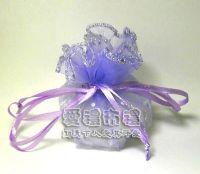 婚禮小物.淡紫色鑽點圓形紗袋 @23cm @1包20個 @1個 2.4元._圖片(1)