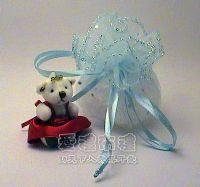 婚禮小物.水藍色鑽點圓形紗袋 @23cm @1包20個 @1個2.4元._圖片(1)