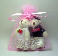 婚禮小物,粉紅色鑽點紗袋10x12cm @1包20個@1個2.3元_圖片(1)