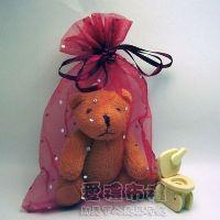 婚禮小物,酒紅色鑽點紗袋15x20cm @1包20個@1個3.2元_圖片(1)