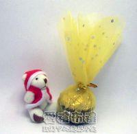 紗袋店,花瓣型淡金色鑽點圓形紗袋 @24cm @1包20個 @1個 1元_圖片(1)