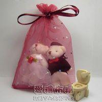 婚禮小物,酒紅鑽點雪紗袋10x15cm @1包20個@1個2.5元_圖片(1)