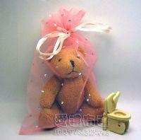 婚禮小物,粉橘色鑽點紗袋15x20cm @1包20個@1個3.2元_圖片(1)