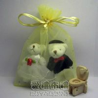 婚禮小物,淡金鑽點雪紗袋10x15cm @1包20個@1個2.5元_圖片(1)