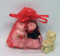 婚禮小物,大紅色鑽點紗袋8x10cm @1包20個@1個2元_圖片(1)