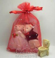 婚禮小物,大紅鑽點雪紗袋10x15cm @1包20個@1個2.5元_圖片(1)