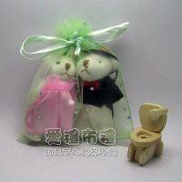 婚禮小物,粉綠色鑽點紗袋10x12cm @1包20個@1個2.3元_圖片(1)