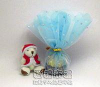 紗袋店,花瓣型水藍色鑽點圓形紗袋 @24cm @1包20個 @1個 1元_圖片(1)