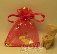 婚禮小物,大紅色串串心燙金雪紗袋7x9cm @1包20個@1個1.7元_圖片(1)