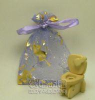 婚禮小物,淡紫色串串心燙金雪紗袋7x9cm @1包20個@1個1.7元_圖片(1)
