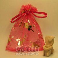 婚禮小物,大紅色串串心燙金雪紗袋10x12cm @1包20個@1個2.2元_圖片(1)