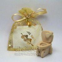 婚禮小物,淡金色串串心燙金雪紗袋7x9cm @1包20個@1個1.7元_圖片(1)