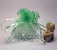 婚禮小物,粉綠色鑽點圓形紗袋 @23cm @1包20個 @1個2.4元._圖片(1)