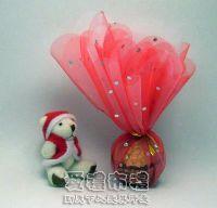 婚禮小物,花瓣型大紅色鑽點圓形紗袋 @24cm @1包20個 @1個 1元_圖片(1)