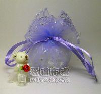 婚禮小物,淡紫色鑽點圓形紗袋 @26cm @1包20個 @1個 2.7元_圖片(1)