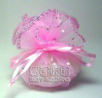 婚禮小物,粉紅色鑽點圓形紗袋 @23cm @1包20個 @1個2.4元._圖片(1)