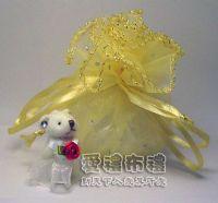 婚禮小物,淡金色鑽點圓形紗袋 @26cm @1包20個 @1個2.7元_圖片(1)