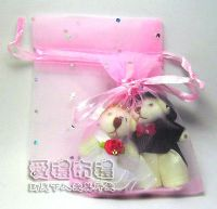 婚禮小物,粉紅色鑽點紗袋8x10cm @1包20個@1個2元_圖片(1)