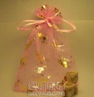 紗袋店.粉紅色串串心燙金雪紗袋12x17cm @1包20個@1個2.7元_圖片(1)
