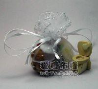 婚禮小物.白色鑽點圓形紗袋 @23cm @1包20個 @1個2.4元._圖片(1)