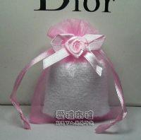 婚禮小物,粉紅色緞帶花雪紗袋8x10cm @1包20個@1個3.2元_圖片(1)