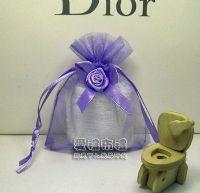 紗袋店,淡紫色緞帶花雪紗袋8x10cm @1包20個@1個3.2元_圖片(1)