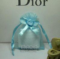 紗袋店,水藍色緞帶花雪紗袋7x9cm @1包20個@1個2.9元_圖片(1)