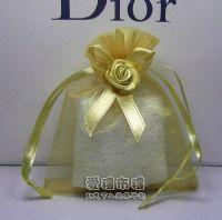 紗袋店,淡金色緞帶花雪紗袋8x10cm @1包20個@1個3.2元_圖片(1)