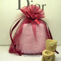 婚禮小物,酒紅色緞帶花雪紗袋10x12cm @1包20個@1個3.5元_圖片(1)