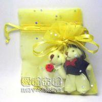 婚禮小物,淡金色鑽點紗袋8x10cm @1包20個@1個2元_圖片(1)