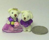 婚禮小物,3.5公分水鑽情侶紗裙熊紫色(1對)19元_圖片(1)