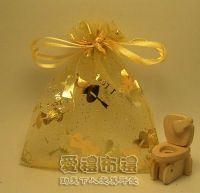 婚禮小物,淡金色串串心燙金雪紗袋10x12cm @1包20個@1個2.2元_圖片(1)