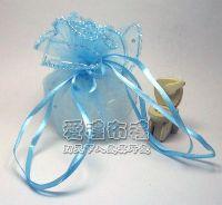 紗袋店,水藍色鑽點圓形紗袋 @26cm @1包20個 @1個2.7元_圖片(1)