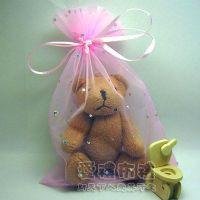 婚禮小物,粉紅色鑽點紗袋15x20cm @1包20個@1個3.2元_圖片(1)
