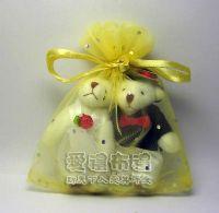 婚禮小物,淡金色鑽點紗袋10x12cm @1包20個@1個2.3元_圖片(1)