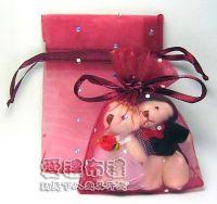婚禮小物,酒紅色鑽點紗袋8x10cm @1包20個@1個2元_圖片(1)