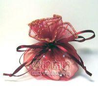 婚禮小物.酒紅色鑽點圓形紗袋 @23cm @1包20個 @1個2.4元._圖片(1)