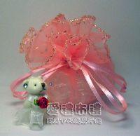 婚禮小物.粉橘色鑽點圓形紗袋 @26cm @1包20個 @1個2.7元_圖片(1)