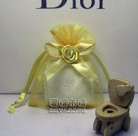 紗袋店,淡金色緞帶花雪紗袋7x9cm @1包20個@1個2.9元_圖片(1)