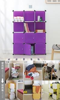 A63尋寶新天地~12格6門收納櫃_深紫*組合式魔術方塊玩具置物架文具書櫃衣櫃鞋櫃衣櫥鞋架置物櫃隔間櫃屏風.可多用途使_圖片(1)