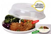 N2無煙炊具*三格式餐盤附微波蓋-廚房料理盤便當盒.保鮮膜拜拜.微波爐專用微波餐具.烹調迅速省時省錢.SYH-2003_圖片(1)