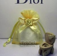 【愛禮布禮】 婚禮小物: 淡金色緞帶花雪紗袋7x9cm~1個2.6元,10個26元,訂購單位1為10個_圖片(1)