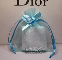 【愛禮布禮】 婚禮小物: 水藍色緞帶花雪紗袋8x10cm,1個2.9元,10個29元,訂購單位1為10個_圖片(1)