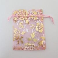 【愛禮布禮】 婚禮小物: 粉紅色玫瑰燙金雪紗袋9x12cm,1個1.7元,10個17元_圖片(1)