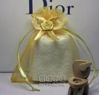 【愛禮布禮】婚禮小物:淡金色緞帶花雪紗袋10x12cm,1個3.2元,10個32元_圖片(1)