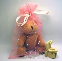 【愛禮布禮】婚禮小物:粉橘色鑽點紗袋12x17cm,1個2.6元,10個26元_圖片(1)
