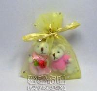 【愛禮布禮】婚禮小物:淡金色鑽點紗袋6x8cm,1個1.4元,10個14元_圖片(1)