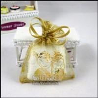 【愛禮布禮】婚禮小物:淡金色新郎新娘燙金雪紗袋10x12cm,1個1.9元,10個19元_圖片(1)